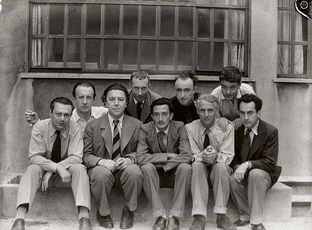 Parisian Surrealists Tristan Tzara, Paul Eluard, Andre Breton, Hans Arp, Salvador Dali, Yves Tanguy, Max Ernst, Rene Crevel, and Man Ray, Paris, 1933, by Anna Riwkin