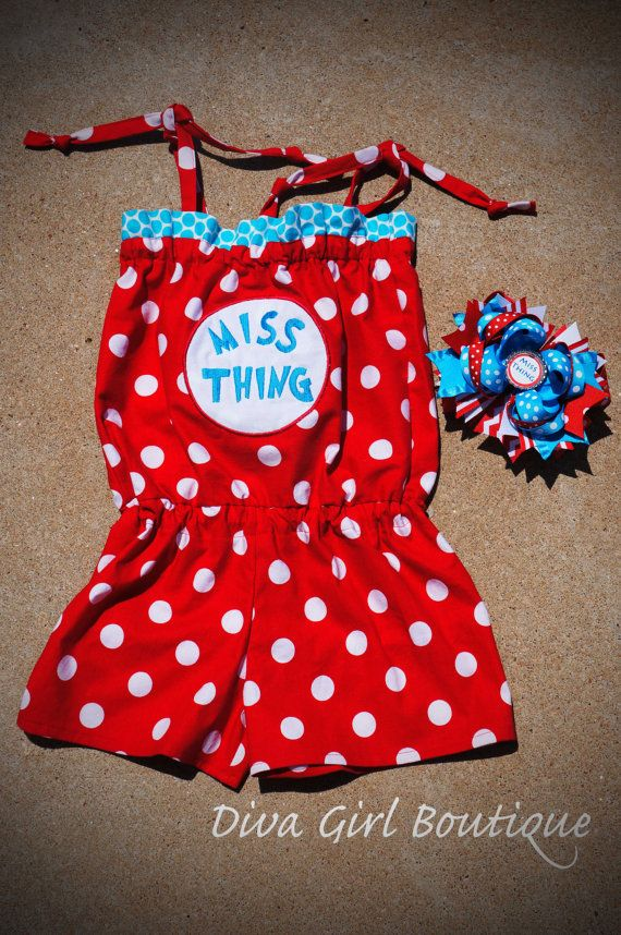 Dr. Suess Inspired Birthday Outfit Boutique Girls Clothing Romper MissThing Boutique Hairbow 0/3m6/9m9/12 12/18m 18/24m 2T 3T 4T 5T on Etsy, $39.50