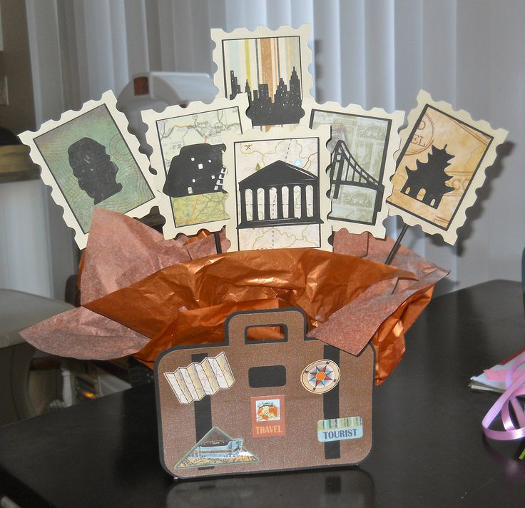 travel themed centerpiece for a retirement party table