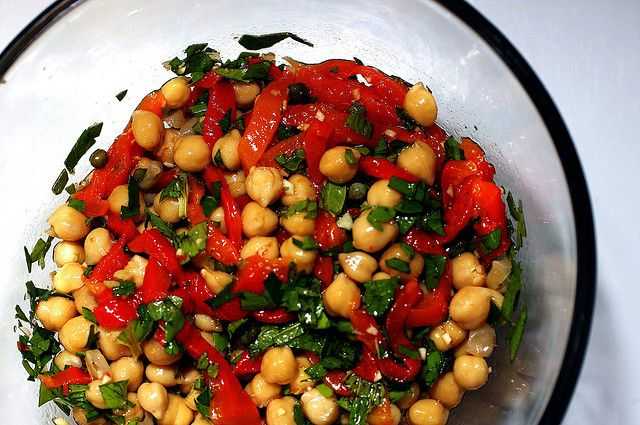 Chickpea Salad with Capers and Roasted Red Peppers  (I would just substitute bottled red peppers)
