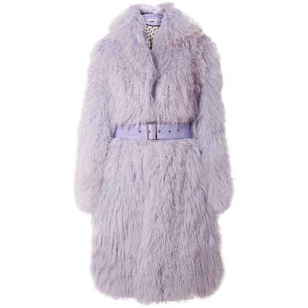 Saks Potts Belted shearling coat ($1,660) ❤ liked on Polyvore featuring outerwear, coats, saks potts, longline coat, belted coat, saks potts coat and purple coats