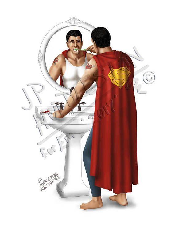 SUPERHERO BATHROOM *Set of 5* Print Thor Superman Spiderman Wonder