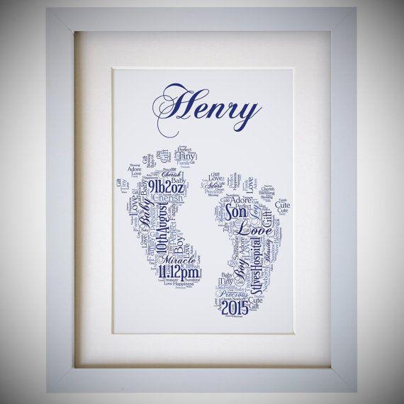 Personalised Name Baby Boy Footprints Framed Word by VioletGraceUK