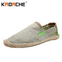 Nouveautés Hommes Toile Plat Chaussures Mode Espadrille Taille 5.5-9.5 D'été Frais Léger Homme Mocassins Chaussures Paresseux Gros pas cher(China (Mainland))