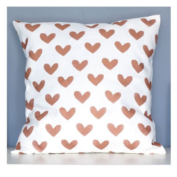 Handmade copper hearts pillow. This design is made from a high weight 40% cotton 60% linen fabric, and is designed to fit nicely onto a 50 x