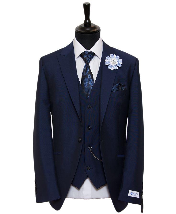French Navy Blue Lounge Suit | Blue Slim Cut Wedding Suit | Hugh Harris Formal