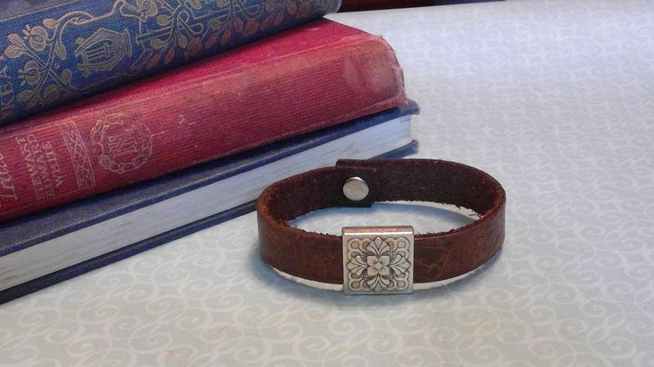 Brown Leather Bracelet with Silver Slider by BrandedCreed on Etsy