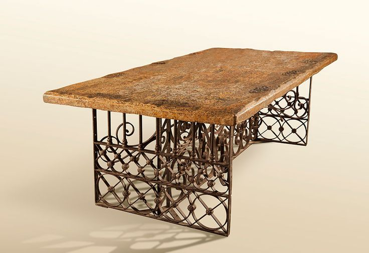 Fusion Table/Desk: Colonial Reja Base & First Growth Douglas Fir Top) H 31 in. x W 67 in. x D 39 in.