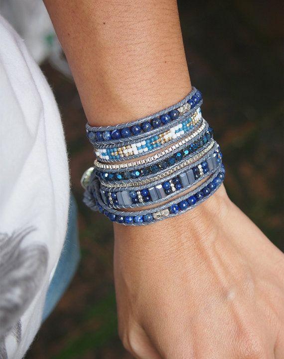So Rock Lapis beaded mix Wrap bracelet Boho bracelet by G2Fdesign