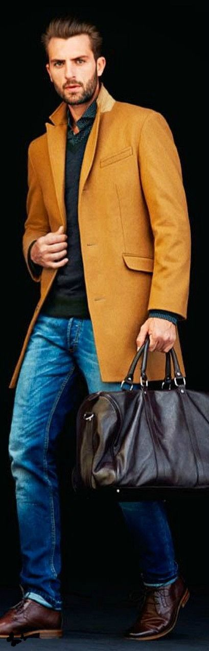 men's mustard jacket, green sweater, brown leather bag. Casual travel style | 5 Bags Every Man Should Own www.divinestyle.co