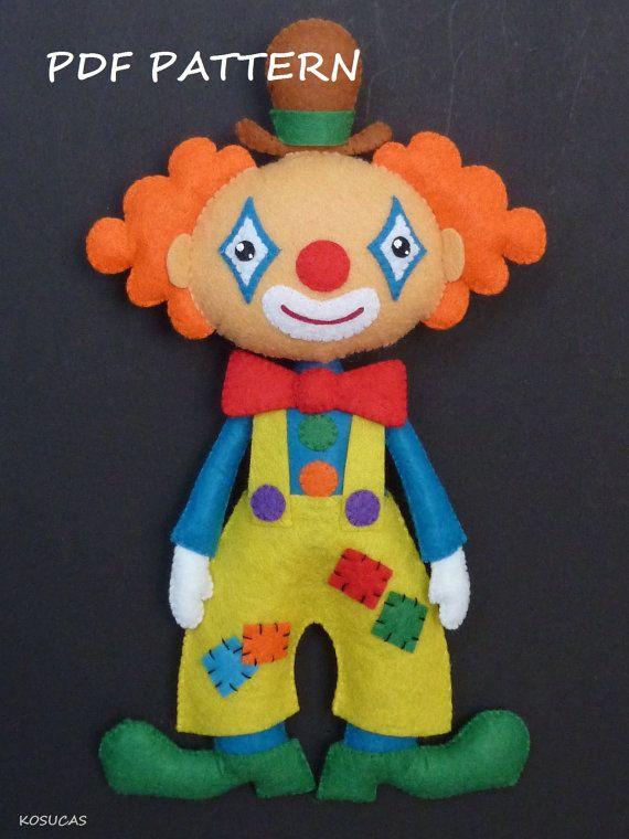 PDF pattern to make a felt clown. por Kosucas en Etsy
