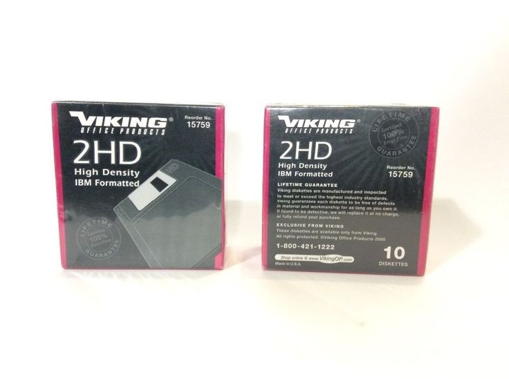 """2 Boxes of Computer Diskettes Viking Office Product NIB 3.5"""" IBM Formatted 2HD   #VikingOfficeProducts  I will be listing more IBM and some Mac formatted diskettes in the near future. Stay tuned!"""