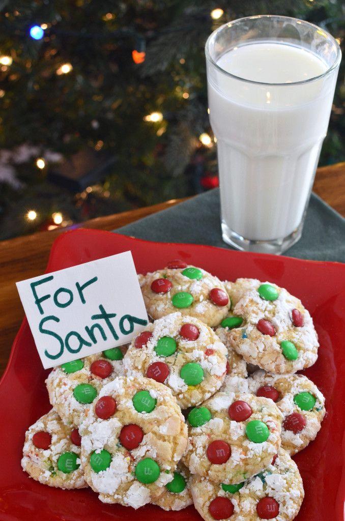 Snowflake cookies with M&M'S - Santa's favorite!