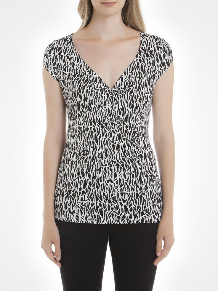 Zebra Print Wrap T-Shirt / T-Shirt Portefeuille à Imprimé Zébré