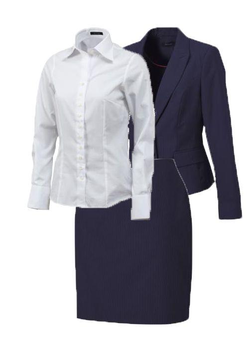 Voor een zakelijke meeting combineer je een blauwe krijtstreep rok en colbert met een slimfit witte blouse. Met de speciale anti-odor finish hoef je een verhitte discussie niet uit de weg te gaan.