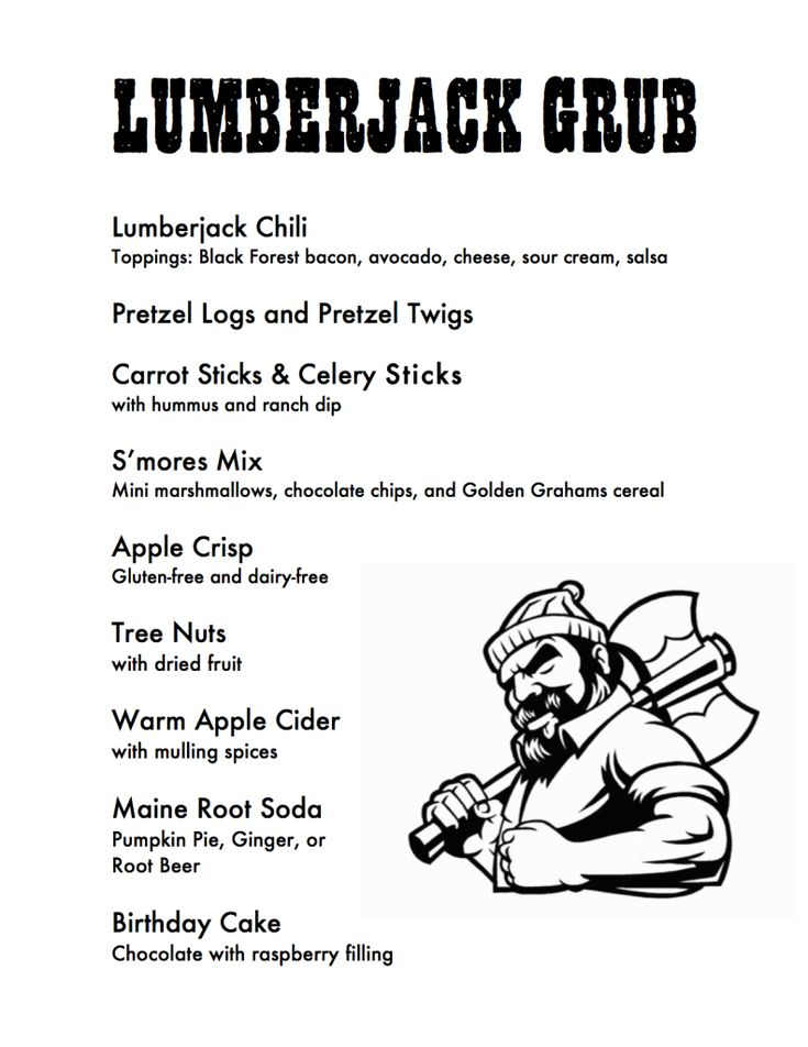 Project Nursery - Lumberjack Grub Menu