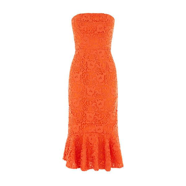 Warehouse Warehouse Strapless Premium Lace Dress Size 6 ($140) ❤ liked on Polyvore featuring dresses, orange, special occasion dresses, strapless dresses, orange dress, lace cocktail dress and strapless lace dress