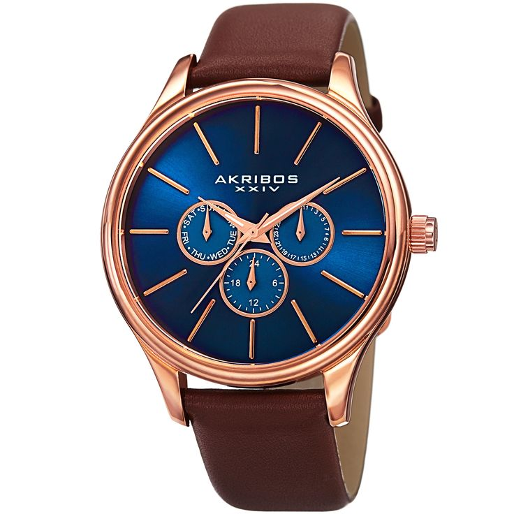 Sleek and simple, this timepiece presented by Akribos XXIV features a sturdy genuine glove leather strap and a multifunction dial displaying the day, date and GMT. The luminous dauphine style hands and stick style markers create a classy and sharp look.