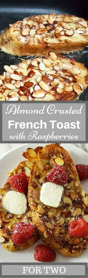 Almond Raspberry French Toast has thick slices of French or Italian bread covered in crunchy skillet toasted almonds, topped with fresh raspberries, maple syrup, and a sprinkle of powdered sugar. It is easy and quick to make, ready in just 25 minutes. This elegant dish makes the perfect romantic breakfast, lunch, or dinner for two. Serve it on Valentine's Day to impress your special someone. #almond #raspberry #FrenchToast #BreakfastForTwo #RecipeForTwo #LunchForTwo #DinnerForTwo #breakfast