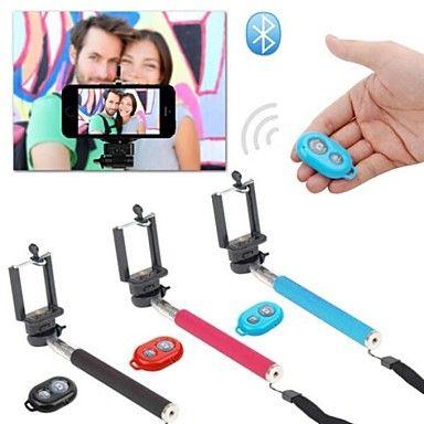 Autofoto monopie extensible cámara de mano con soporte para teléfono móvil y disparador remoto bluetooth para el iphone – USD $ 11.99
