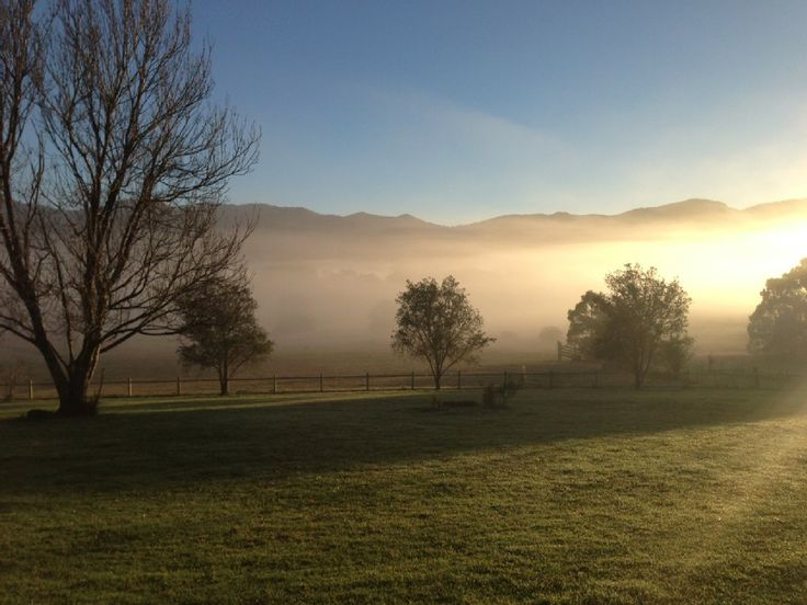 Look at the stunning sunrise just filtering through the mist and hills of this beautiful Bellingen, North Coast, NSW property. If its space, tranquility and fresh air you need, this is the property for you.  http://www.homeaway.com.au/holiday-rental/p3560726