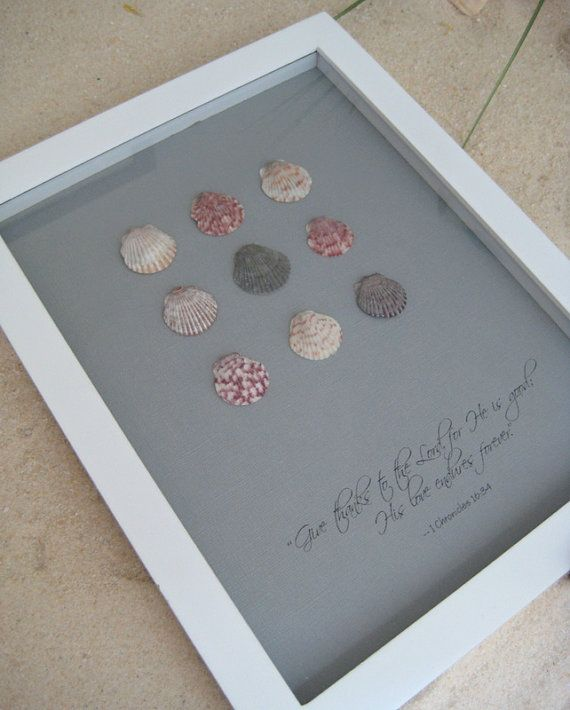 Coastal Wall Art with Calico Shells and Bible Verse by glorygivers