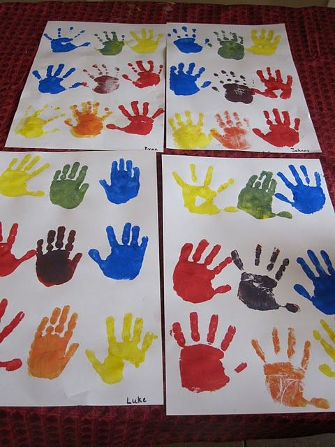 Fun way to teach mixing colors! Paint one hand a color, and the other it's compliment, then have them rub their hands together and see what color it makes!