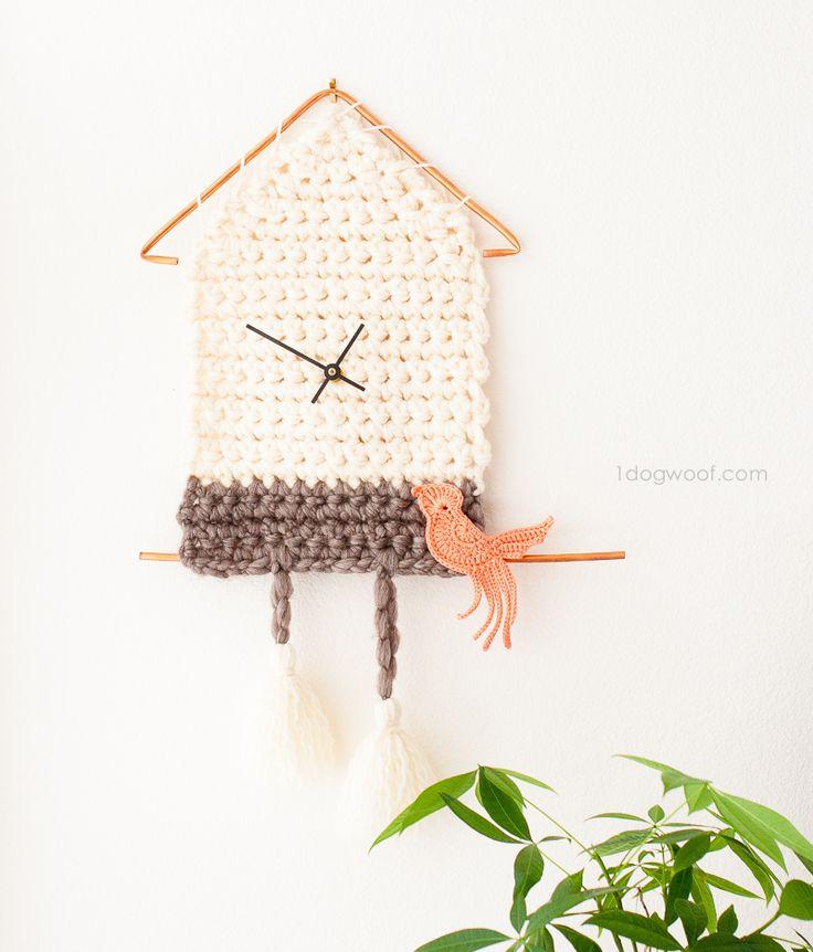 Yarn Cuckoo Clock Wall Hanging by One Dog Woof