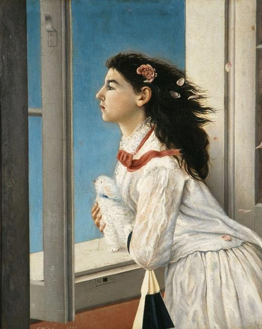 Avlichos Georgios (1842 - 1909), Girl at Window, 1877, Oil on canvas , 63,5 x 50,2 cm. National Gallery and Alexander Soutsos Museum , Athens Greece