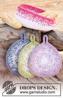 "Crochet DROPS pot holders and bread basket in 3 strands ""Paris"". ~ DROPS Design"