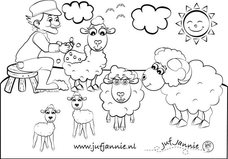 kleurplaten kinderboerderij: Boer scheert de schapen