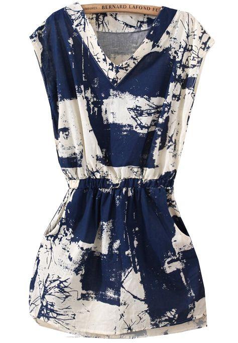 robe mince motif floral sans manche V col   15.88