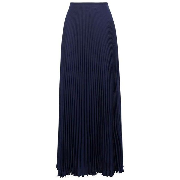 Giorgio Grati Pleated Chiffon Maxi Skirt (€425) ❤ liked on Polyvore featuring skirts, blue pleated maxi skirt, blue chiffon maxi skirt, blue skirt, pleated skirt and strappy cami