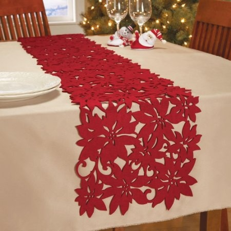 felt die cut poinsettia etable runner by collections etc home kitchen diy christmas table