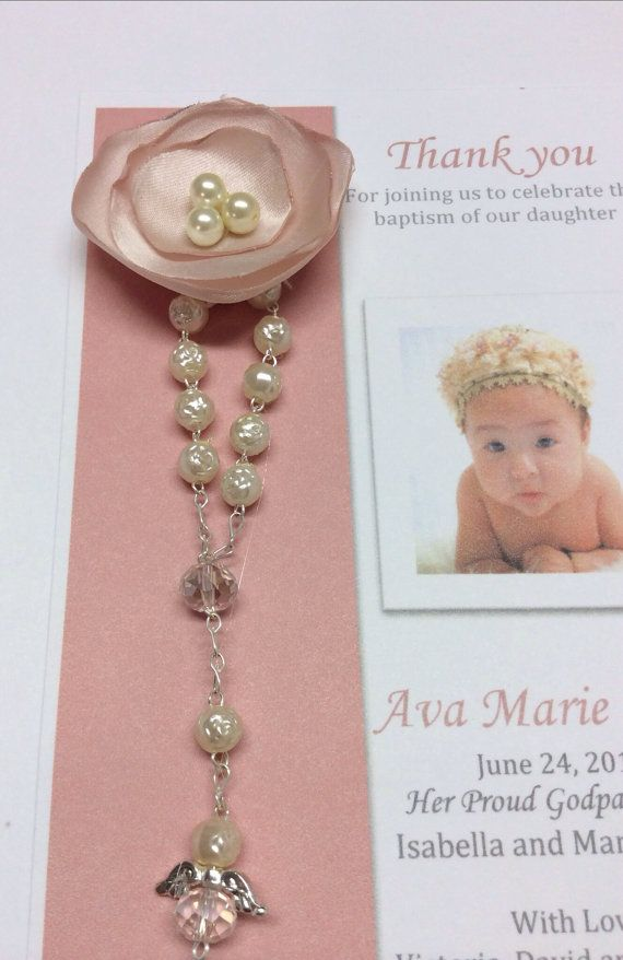 60 pcs Christening Rosary Favor Cards / Thank you by AVAandCOMPANY