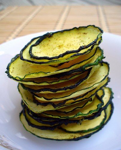 Dehydrated Zucchini Chips- these are delicious!  I will be making tons of these. Tried plain salt and pepper, and salt and vinegar. Both were fantastic. It took very little oil and kept then in the dehydrator overnight till about noon the next day.
