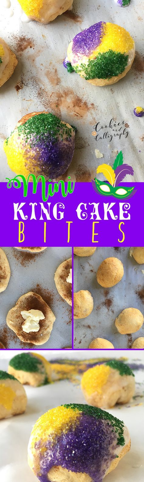 MINI KING CAKE BITES | Fat Tuesday is right around the corner, which can only mean one thing…Mardi Gras! There is also only one thing you truly need to celebrate Mardi Gras…King Cake! Instead of making a big cake to pass around, we decided to create bite sized versions of this heavenly treat. You're welcome. :) We are all about easy and quick recipes, and this one is no exception. So, go on and get your carnivale on with these delicious Mini King Cake Bites!