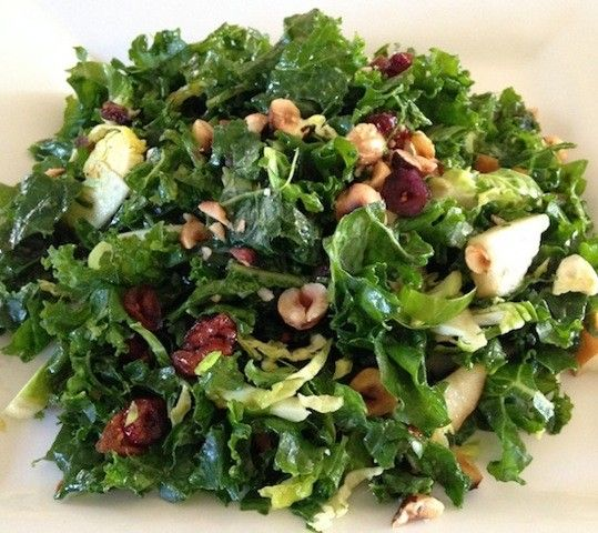 Kale Salad With Pear, Hazlenuts & Cranberries