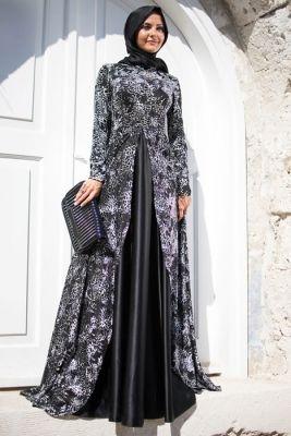 Dilek Tasarım Siyah Desenli Kadife Tesettür Abiye Elbise