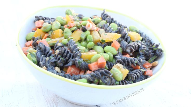 Here is another recipe I have made with the Trader Joe's Black Bean Rotini Pasta. This one has a peanut dressing and some crunchy veggies mixed in. I find this recipe gets even better with time, so feel free to make it a day ahead and let it mingle in the fridge.