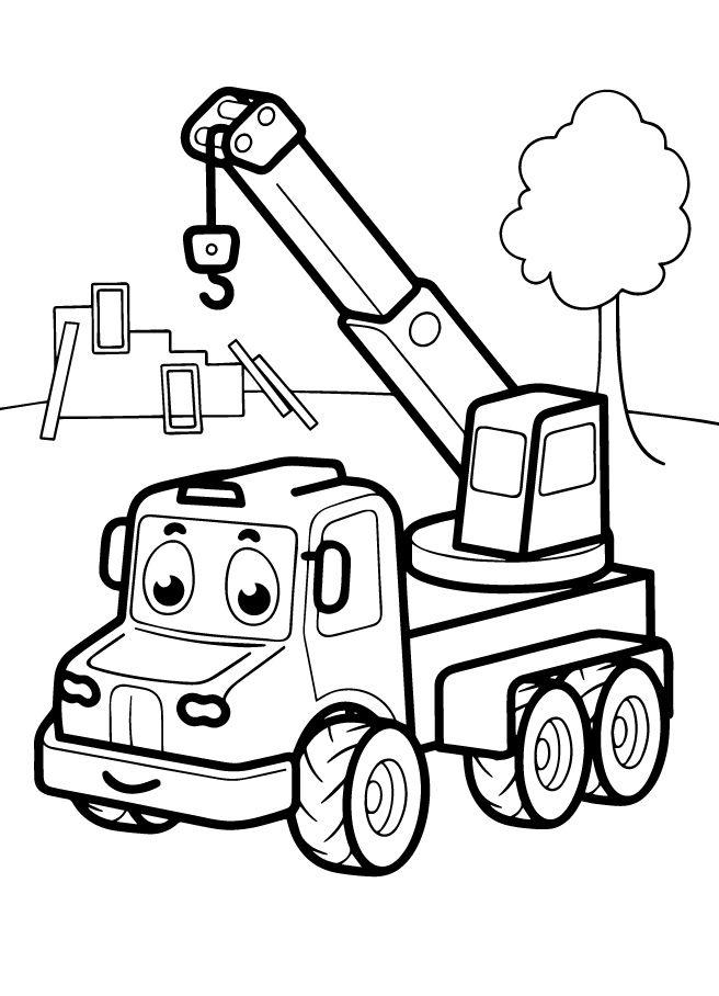 распечатать картинки для раскрашивания машинки трактор паровозик кран только выделить четко