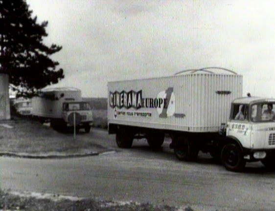 Cinerama set up giant tent shows with these trucks throughout Western Europe in the 50's and 60's