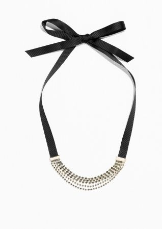 & Other Stories image 1 of Rhinestone Choker  in Grey