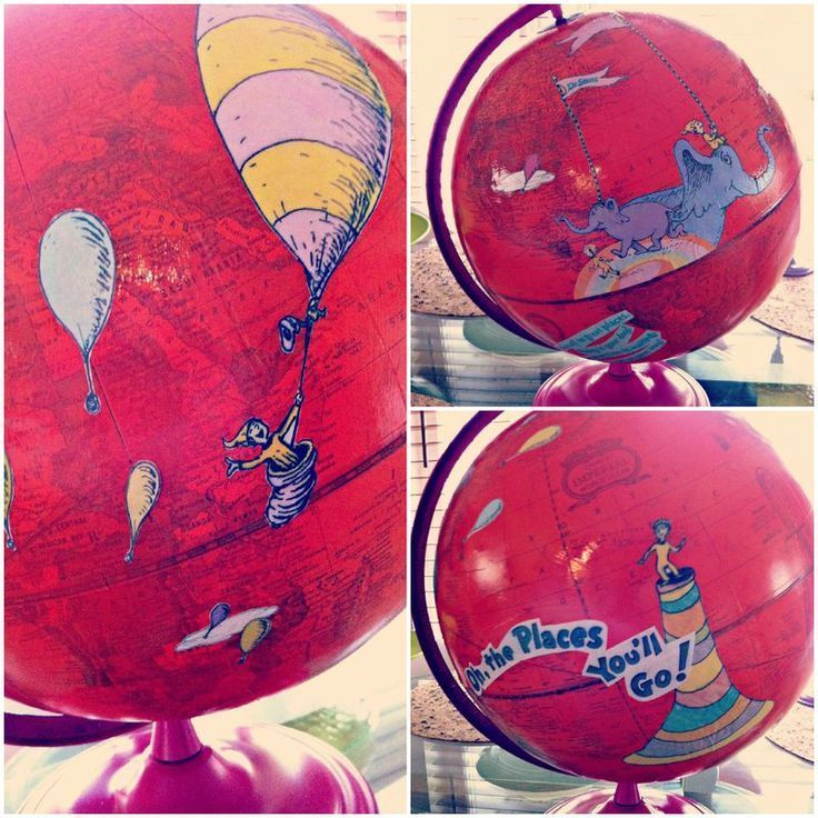Oh, The Places You'll Go - DIY Decoupaged Globe Centerpiece - The Brass Paperclip Project