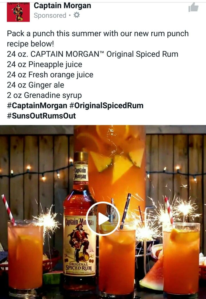 Pack a punch this summer with our new rum punch recipe below!  24 oz. CAPTAIN MORGAN™ Original Spiced Rum  24 oz Pineapple juice  24 oz Fresh orange juice  24 oz Ginger ale  2 oz Grenadine syrup