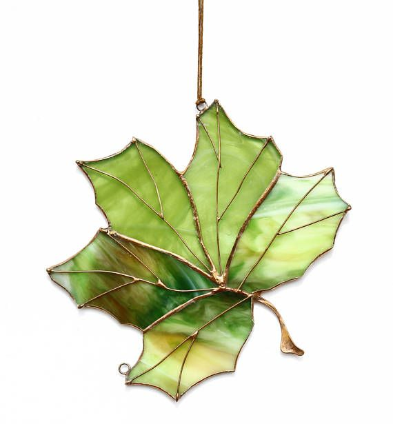 Genuine Stained Glass Art Suncatcher Maple Leaf Handmade Home