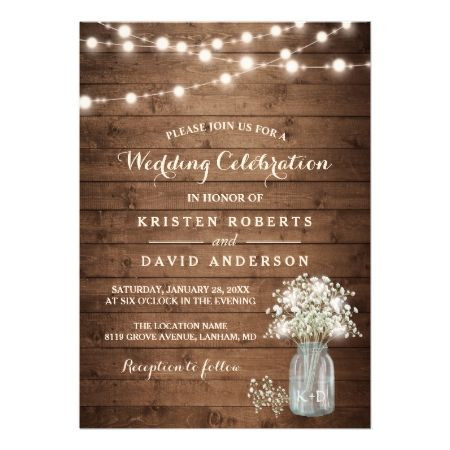 Rustic Baby's Breath Mason Jar Lights Wedding Card - tap to personalize and get yours
