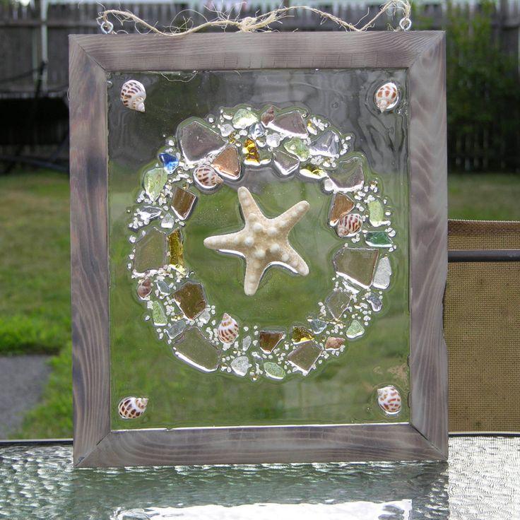 Armored Starfish Beach Glass Wreath by SeasidesbyDesign on Etsy http://etsy.me/1gyX89u