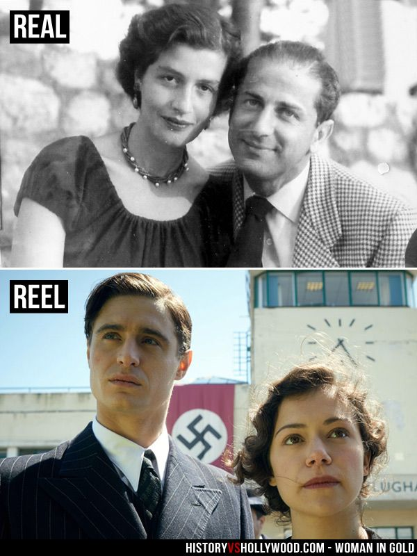 Maria Altmann and husband Fritz Altman, portrayed by Max Irons and Tatiana Maslany in the Woman in Gold movie. See more Woman in Gold pics here: http://www.historyvshollywood.com/reelfaces/woman-in-gold/