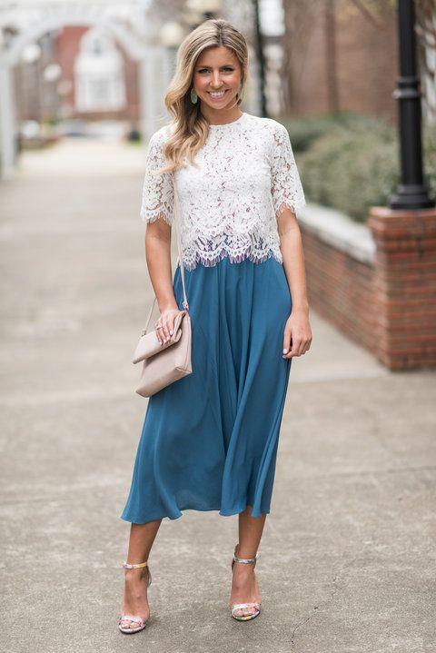 lace top, white lace top, lace crop top, flowy skirt, flowy midi skirt, blue skirt, flowy maxi skirt, flowy maxi dress, bridesmaid top, Shop The Mint